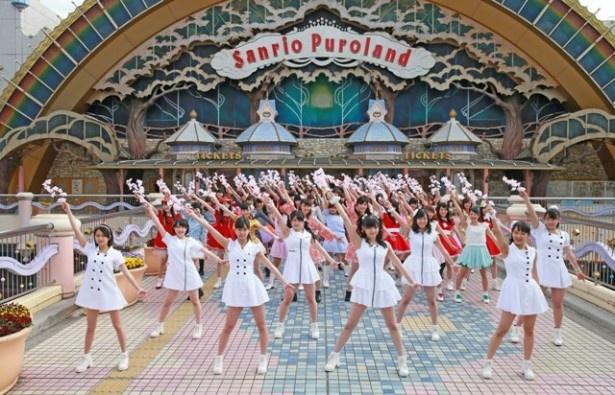 こぶしファクトリーとユニドルによる「桜前線北上プロジェクト」がスタート。東京・サンリオピューロランドで撮影が行われた