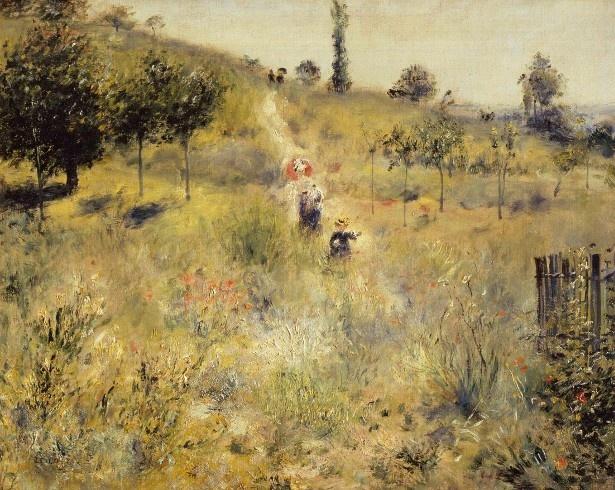 日傘とひなげしの深紅色が、草原の緑とコントラストをなしている「草原の坂道」