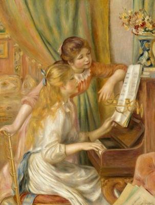 中産階級の娘を描き、理想化された構図と調和のとれた色彩が特徴的「ピアノを弾く少女たち」