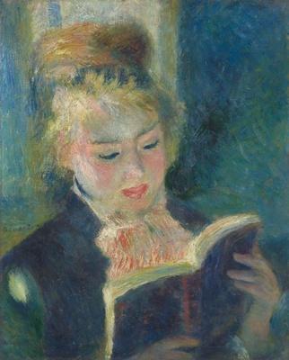 繊細に重ねられた色彩が、光を浴びた少女を浮き彫りにしている「読書する少女」