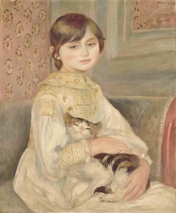 ジュリーの両親であるベルト・モリゾとウジェーヌ・マネは、8歳の愛娘の肖像画をルノワールに依頼した「ジュリー・マネ「あるいは」猫を抱く子ども」