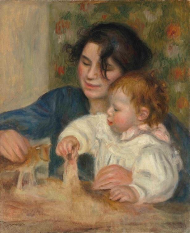 ガブリエルは玩具を使い赤ん坊であるジャンをあやしている「ガブリエルとジャン」