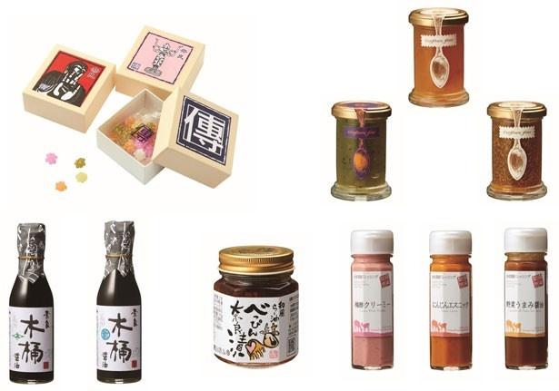奈良県産の食材を使ったジャムやドレッシングをはじめ、食品のセレクトも奈良ならでは