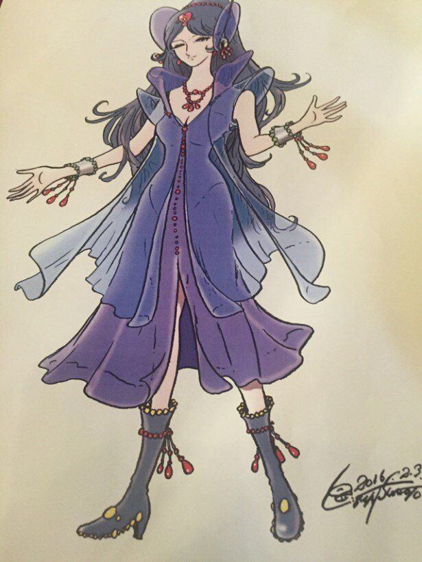 松本による原画。青は山川二千翔の衣装