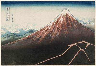 葛飾北斎「冨嶽三十六景 山下白雨」。天空は快晴だが山麓には強烈な稲妻が