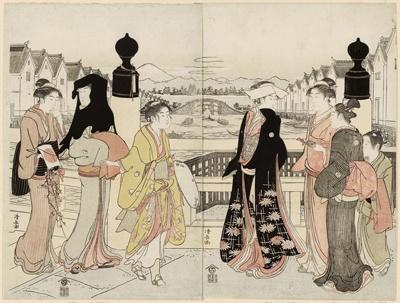 鳥居清長「日本橋の往来」。八頭身の健康的でリアルな美人画を描いている
