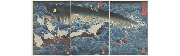 歌川国芳「讃岐院眷属をして為朝をすくふ図」。国芳のもっとも評価の高い傑作