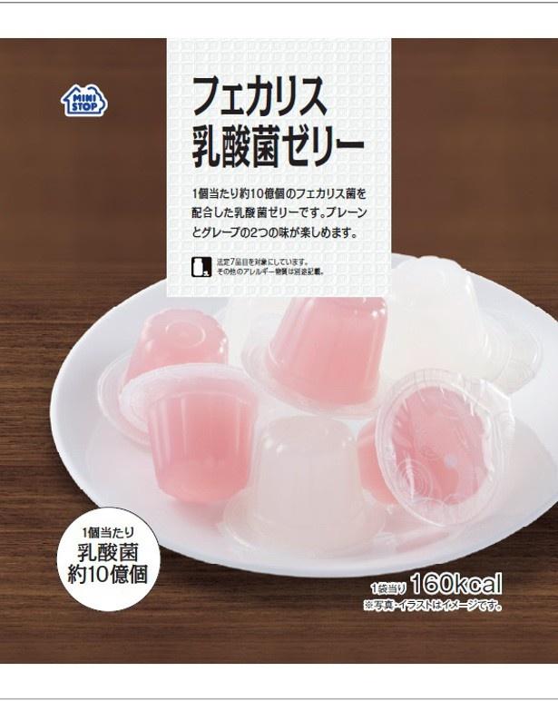 プレーンとグレープの2種類が味わえる「フェカリス乳酸菌ゼリー」(108円)