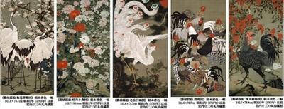 「動植綵絵」のうち、左から「梅花群鶴図」「牡丹小禽図」「老松白鳳図」「群鶏図」「南天雄鶏図」