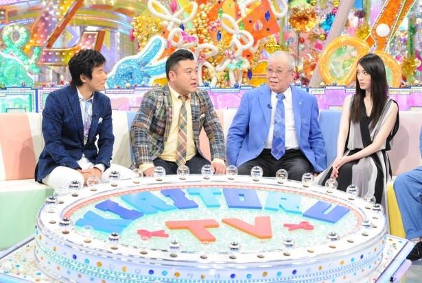 「ゴン中山&ザキヤマのキリトルTV」にゲスト出演する野村克也と栗山千明