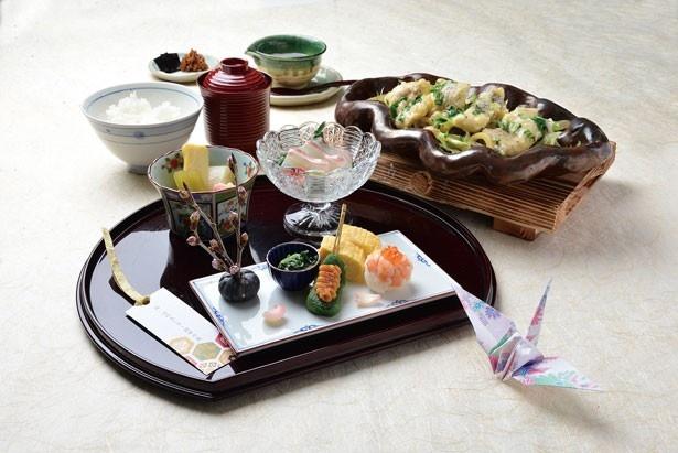彩が美しい「愛媛鯛と春野菜木の芽あんかけ御膳」は、昼のコースでいただける