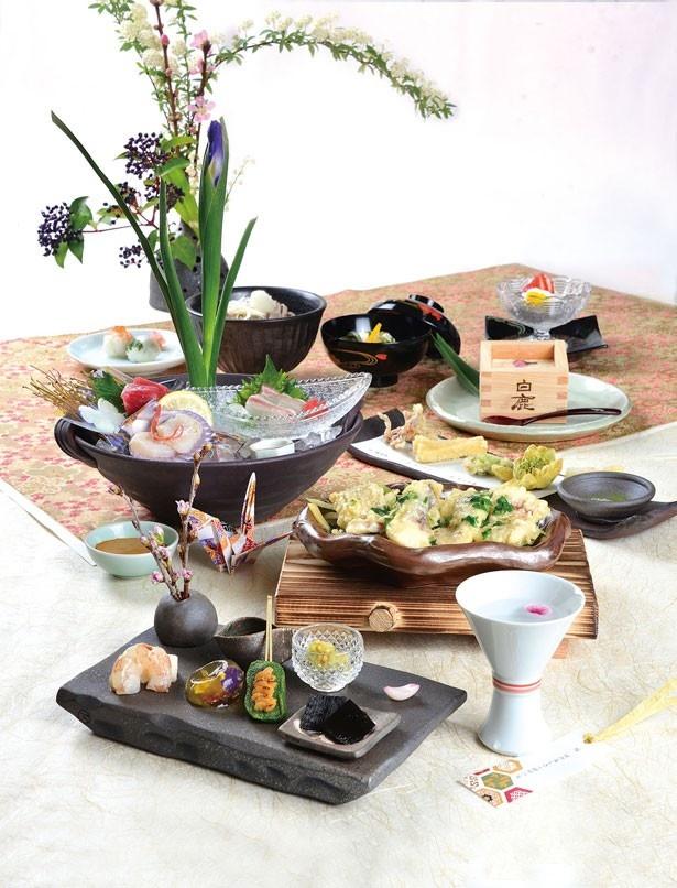 「愛媛鯛と春野菜 木の芽あんかけ」をはじめ、4つのメイン料理を用意した、夜のオープン記念のコース(4000円~5200円)も楽しめる