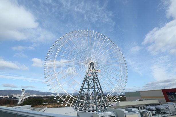 高さ123mは観覧車としては日本一。観覧車からは万博記念公園の太陽の塔も上から眺められる