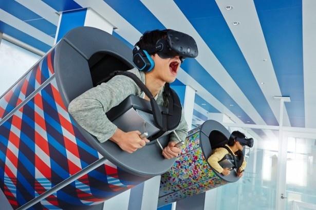 体験型コンテンツ「TOKYO 弾丸フライト」では未来の東京の名所をフライトできる
