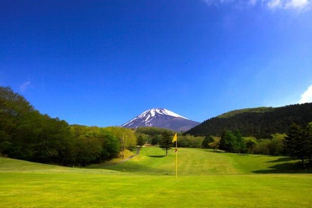 本物のゴルフコースを実際に使用。雄大な富士山を望んでのプレーを楽しみたい