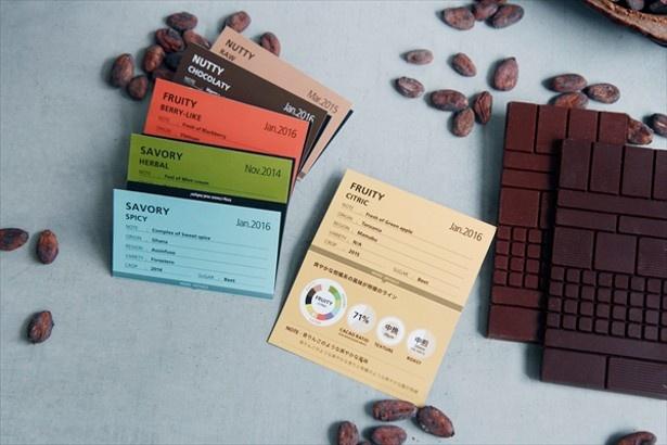 異なる風味を常時6~7種類そろえた「ビーントゥバー チョコレートタブレット」(972円~)