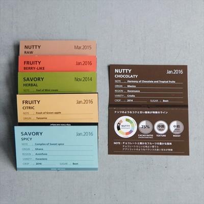 板チョコは、味わいや香りごとに、NUTTY、FRUITY、SAVORYの3種類に分類