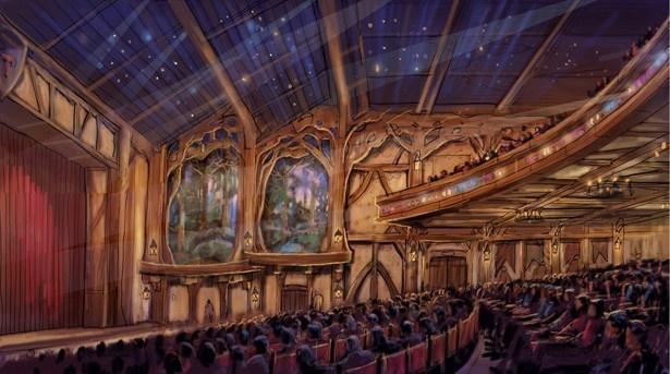 ライブエンターテインメントシアターの内観。定員約1500名の同シアターは、絵本から飛び出してきたような空間が広がる