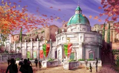 東京ディズニーシーの新アトラクション、「ソアリン(仮称)」の外観