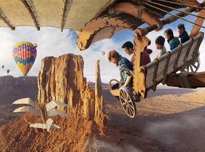 新アトラクション「ソアリン(仮称)」では、ライドに乗って雄大な空の旅を楽しめる