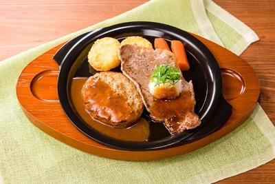 大葉おろしと醤油でさっぱりお肉を楽しめる「薄切りサーロイングリル(大葉おろし醤油ソース)&ハンバーグ」(税抜999円)