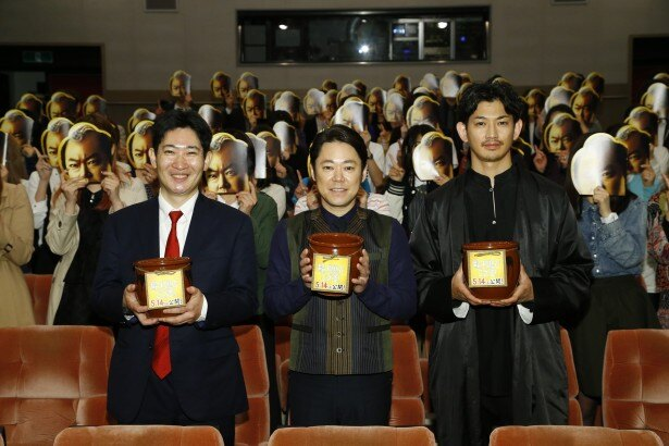 「殿、利息でござる!」のトークイベントに登壇した磯田道史、阿部サダヲ、瑛太(写真左から)