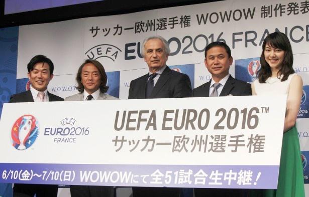 「EURO 2016 サッカー欧州選手権」の会見に登場したヒデ、北澤豪、ハリルホジッチ監督、佐々木則夫氏、杉山セリナ(写真左から)