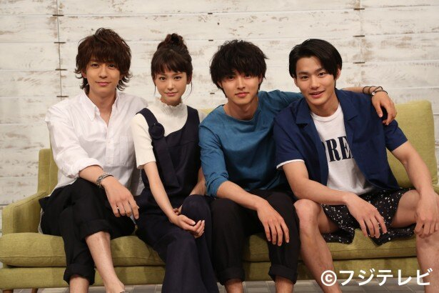 7月スタートの新ドラマ「好きな人がいること」に出演が決まった(左から)三浦翔平、桐谷美玲、山崎賢人、野村周平