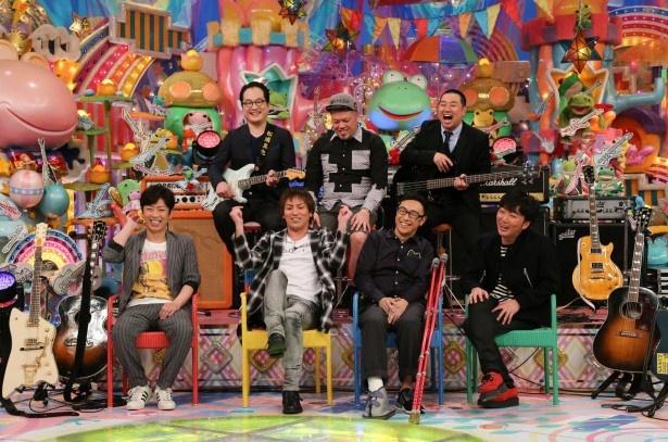 フットボールアワー・後藤輝基(下段左端)、狩野英孝(下段左から2番目)らギターを愛する芸人たちが集結!