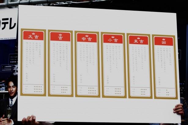 おみくじの結果は全6種類。零治、美咲、和田(北村一輝)、三浦(小瀧)、まひろ(清水)、舞子(小池栄子)からの恋愛アドバイスが書かれている