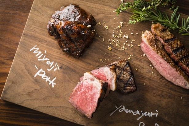 【写真を見る】好みの肉や野菜の炭火焼を3種類盛り合わせた「炭焼きプラッター」(4104円~)