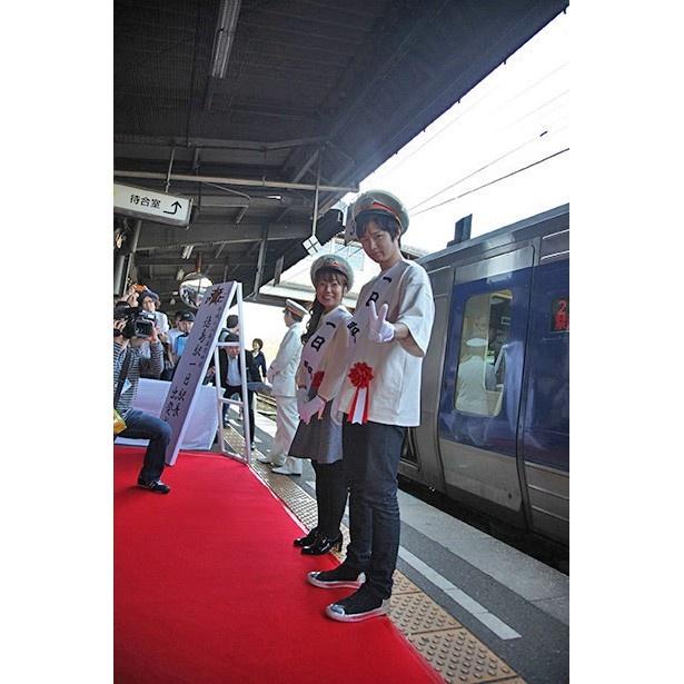下屋則子と逢坂良太が徳島駅の一日駅長に就任!【マチ★アソビ Vol.16】