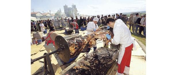 池田町産牛の丸焼きは10:30から提供