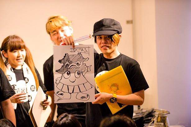山田真一の進行によるトーク&ゲームコーナー。イラストのお題は熊本市のゆるキャラ「ひごまるくん」