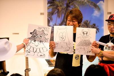 声援団メンバーが思い思いに描いたイラストに、メンバーだけでなく会場全体が笑いの渦に