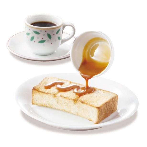 キャラメルハニー以外にも、たらマヨやピーナッツクリームもセレクトできる「キャラメルハニートースト(ドリンクつき)」(338円)
