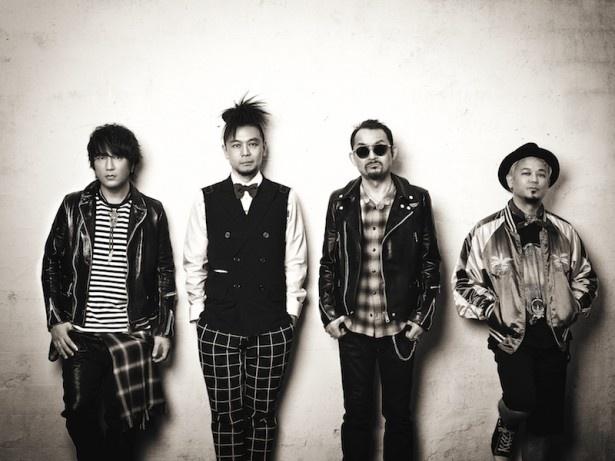 JET SET BOYS(ジェットセットボーイズ)のメンバー。写真左から、ボーカルの椎名慶治(元SURFACE)、ベースのTATSU (元LA-PPISCH)、ドラムの高橋まこと、ギターの友森昭一(元REBECCA+AUTO-MOD)