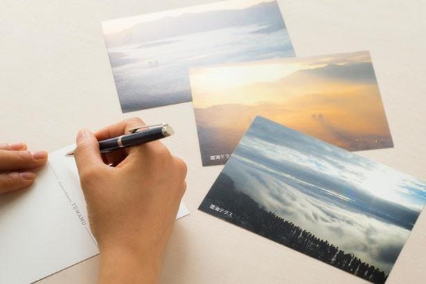 ゴンドラの乗車チケットはポストカードになっており、雲海ポストから無料で全世界に送ることができる