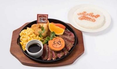【写真を見る】「オレンジえ~パンダの焼き肉プレート~鉄板バベットステーキ/ほほえみの咲く場所~」(税抜1480円)。オレンジ風味のバターがアクセント