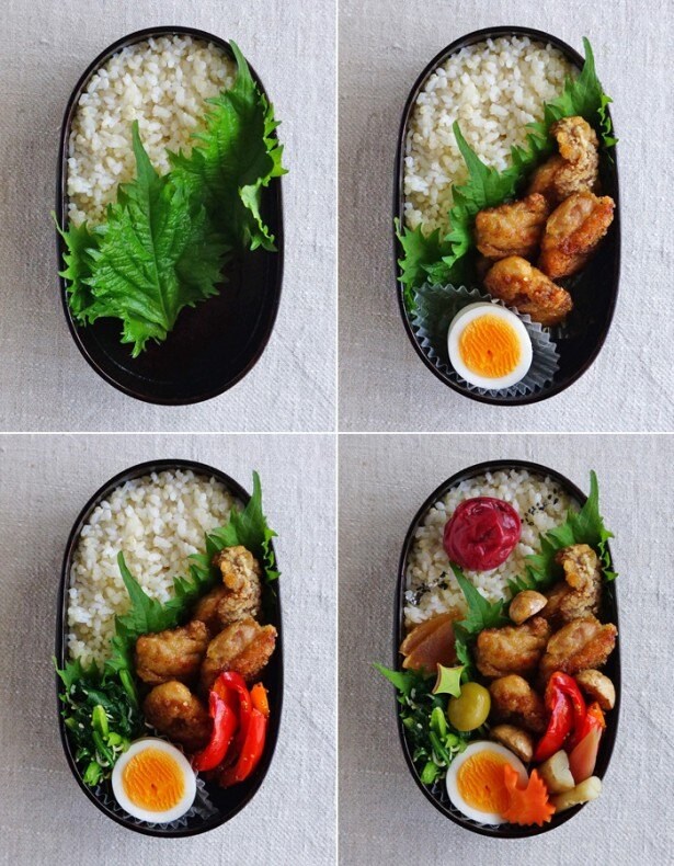 鶏の竜田揚げ弁当の詰め方は4段階。ご飯を詰める(左上)、メインのおかずを詰める(右上)、サブのおかずを詰める(左下)、漬物などを詰め全体を整える(右下)