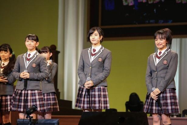 【写真を見る】2016年度の生徒会に選ばれた3人。左からMC委員長の黒澤美澪奈、生徒会長の倉島颯良、副会長の山出愛子