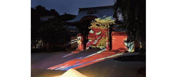 「燈明会」の期間は、方丈前庭では、妖怪のライトアップを実施