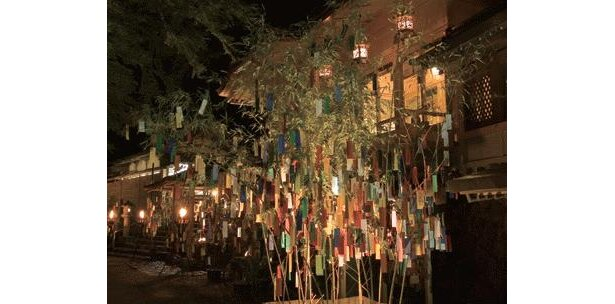 本殿や境内の随所に置かれた笹飾りには願い事の短冊(100円)を結ぶことができ、幻想的に照らし出される