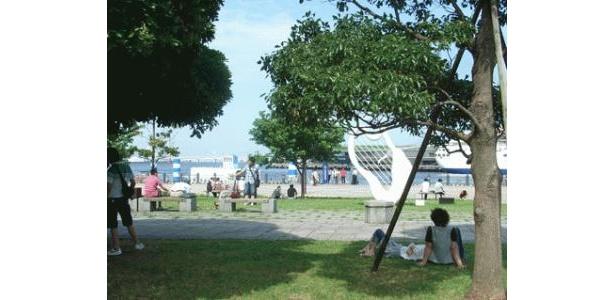 木陰に座ってプハー!潮風が吹いて気持ちいいですよ