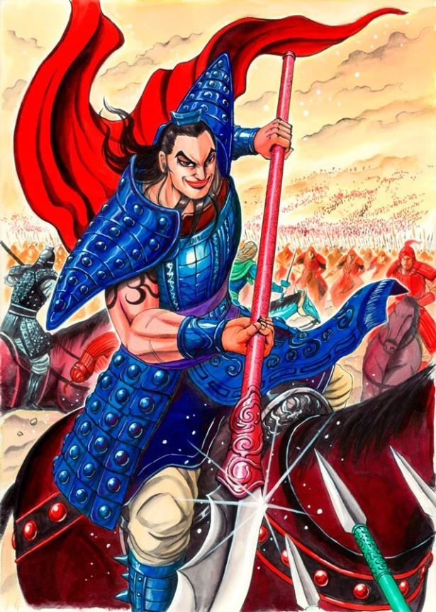 """【写真を見る】キングダムの大人気キャラクターである大将軍""""王騎""""の雄姿が「キングダム展」でよみがえる。忠実に再現された「王騎将軍の矛」も会場に!"""