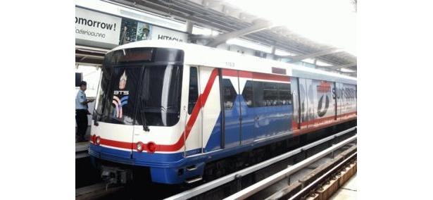 2路線で運行しているBTS。サラディーン、アソーク、モーチットの3駅で地下鉄と連結