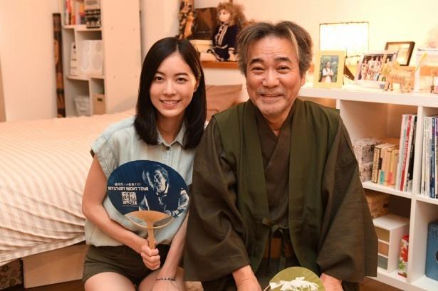 「死幣」に出演する松井珠理奈と稲川淳二が対面