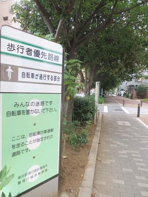 自転車で快適に走れるよう整備された、千川通り沿いの歩道