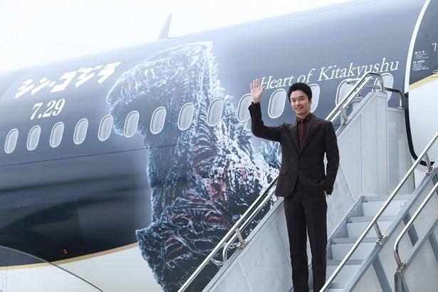 「シン・ゴジラジェット」の機体お披露目式に出席した長谷川博己