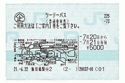 ツーデーパスのチケット。購入すると4枚の説明書がつく